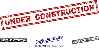 Grunge UNDER CONSTRUCTION Textured Rectangle Stamps