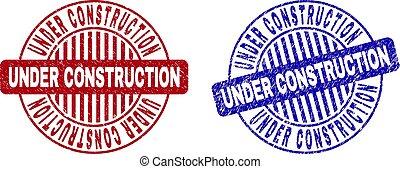 Grunge UNDER CONSTRUCTION Textured Round Stamp Seals