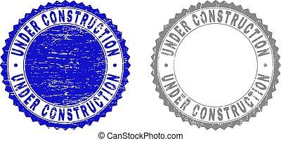 Grunge UNDER CONSTRUCTION Textured Stamp Seals
