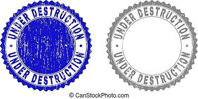 Grunge UNDER DESTRUCTION Scratched Watermarks