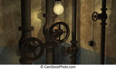 Grunge underground interior with swinging lamp