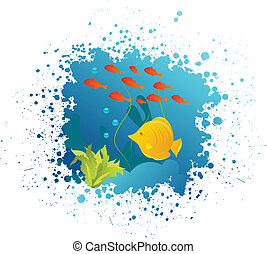 Grunge underwater background with fishes, algae and corals