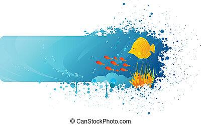 Grunge underwater banner with yellow fish