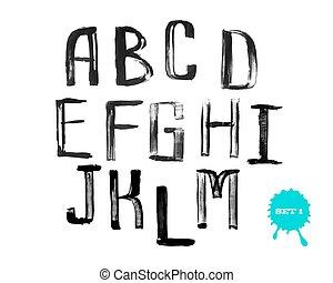Grunge uneven handwritten alphabet, vintage calligraphy, stamp style, capital letters, set 1