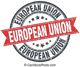 grunge, unie, ouderwetse , postzegel, rood, ronde, lint, europeaan