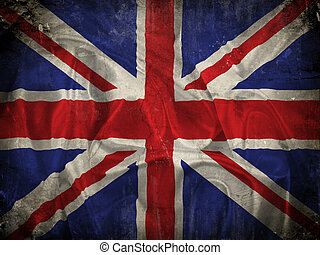 Grunge Union Jack flag background with splats, stains and...