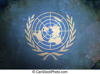 Grunge United Nations Flag - The United Nations Flag on old...