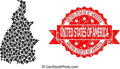 Grunge United States of America Stamp and Pointer Mosaic Map...