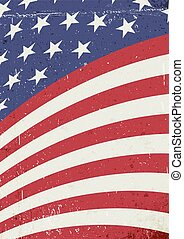 Grunge United States of America wavy flag. Abstract American patriotic background. Vector grunge illustration, A4 format