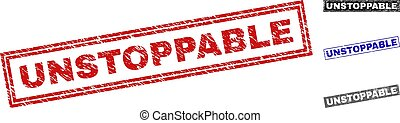 Grunge UNSTOPPABLE rectangle stamp seals isolated on a white background. Rectangular seals with grunge texture in red, blue, black and gray colors.