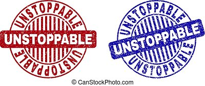 Grunge UNSTOPPABLE round stamp seals isolated on a white background. Round seals with grunge texture in red and blue colors. Vector rubber imprint of UNSTOPPABLE text inside circle form with stripes.