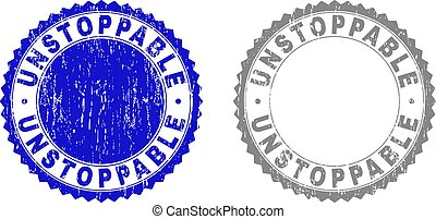 Grunge UNSTOPPABLE stamp seals isolated on a white background. Rosette seals with grunge texture in blue and gray colors. Vector rubber watermark of UNSTOPPABLE text inside round rosette.