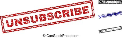 Grunge UNSUBSCRIBE Scratched Rectangle Stamp Seals