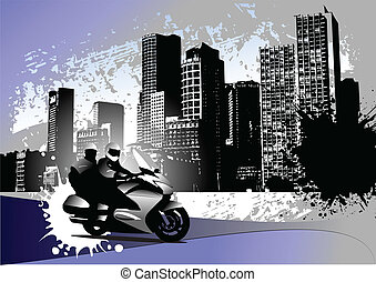 Grunge urban background with two b
