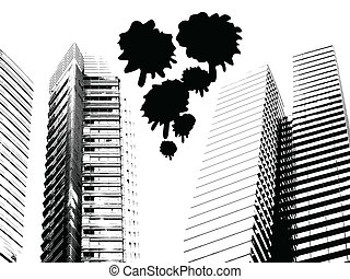 Grunge urban skyscrapers