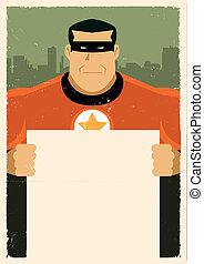 Grunge Urban Super Hero Ad Sign - Illustration of a stylized...