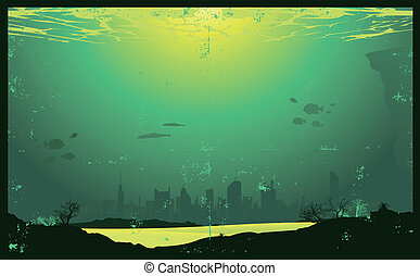 Illustration of a urban landscape underwater with a grunge texture