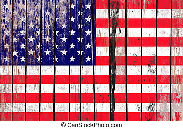 Grunge USA flag background on old wood