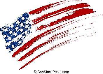 Grunge USA flag - Grunge American USA flag - splattered star...