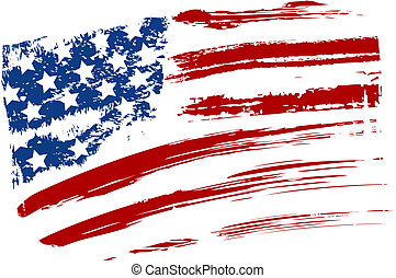 Grunge American USA flag - splattered star and stripes