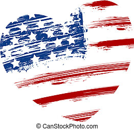 Grunge USA flag in heart shape
