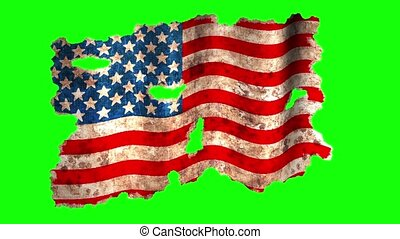 Grunge usa flag on a green background
