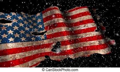 Grunge usa flag on a snow background