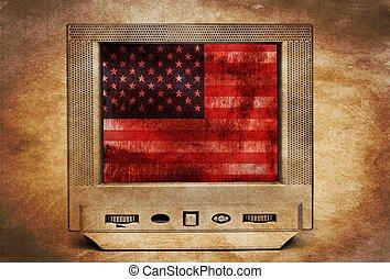 Grunge USA flag on TV