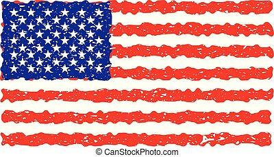 Grunge USA flag. Vector American flag.