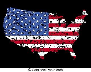 Grunge USA map flag on black illustration