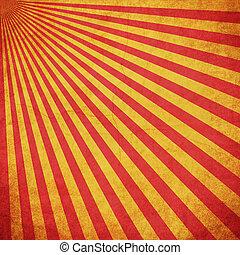 grunge, Utrymme, Årgång, gul, bakgrund,  sunburst, röd