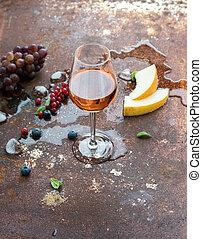 grunge, uva, rosa, metallo, ghiaccio, bacche, vetro, arrugginito, fondo, melone, vino