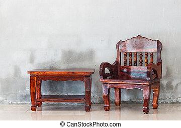 grunge, vägg, backgrou, konkret, ved, bord, stol, möblemang