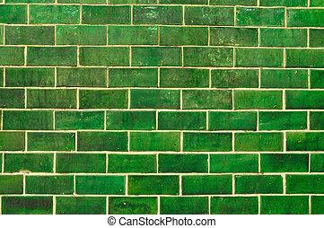 grunge, vägg, tegelsten, grön