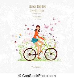 grunge, vélo, invitation, équitation, girl, sport, carte, heureux