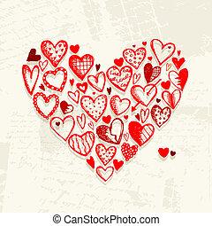 grunge, valentina, disegno, fondo, cuori, tuo