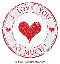 grunge, valentine, selo, muito, ilustração, dia, borracha, vetorial, assim, fundo, amor, branca, tu, vermelho