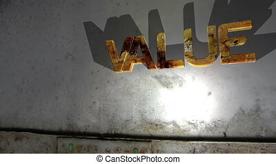 Grunge value text on the wall
