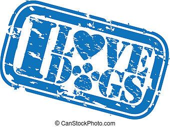 grunge, ve, briefmarke, gummi, liebe, hunden