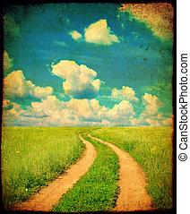 grunge, vecchio, strada, fondo, paesaggio rurale