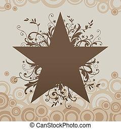 grunge, vecteur, étoile