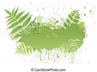 grunge, vecteur, feuille, nature