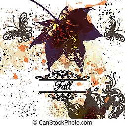 Grunge vector autumn background with maple leafs