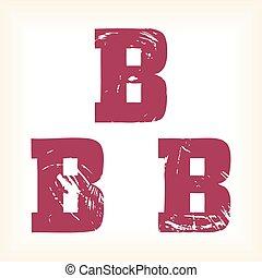 grunge, vector, b, carta, -, vector, tipo, alfabeto, -, losa, serif, fuente, -, vector, arte, en, eps, format., el, diferente, gráficos, ser, todos, en, separado, capas, tan, ellos, lata, fácilmente, ser, movido, o, edited, individually., el, te