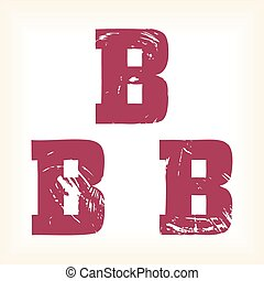 Grunge vector B letter - vector type alphabet - slab serif font - Vector art in EPS format. The different graphics are all on separate layers so they can easily be moved or edited individually. The te