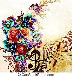 Grunge vector background with music notes and rose flowers in vintage style.eps