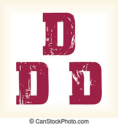 Grunge vector D letter - vector type alphabet - slab serif font - Vector art in EPS format. The different graphics are all on separate layers so they can easily be moved or edited individually.