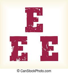 grunge, vector, e, carta, -, vector, tipo, alfabeto, -, losa, serif, fuente, -, vector, arte, en, eps, format., el, diferente, gráficos, ser, todos, en, separado, capas, tan, ellos, lata, fácilmente, ser, movido, o, edited, individually., el, te