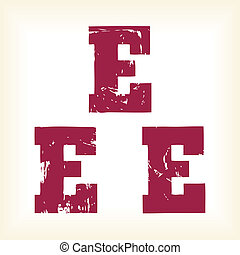 Grunge vector E letter - vector type alphabet - slab serif font - Vector art in EPS format. The different graphics are all on separate layers so they can easily be moved or edited individually. The te