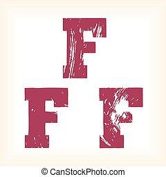 Grunge vector F letter - slab